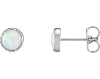 AAA Opal  Bezel-Set  Earrings In 14K White-Ready to ship