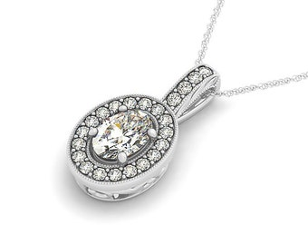 1.35ct 8x6mm Oval Forever One (GHI) Moissanite  Solid 14k white gold Antique Halo Style diamond Pendant with  18 Inch Cable chain - Ov43440