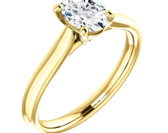 Certified  Forever One Moissanite Engagement Ring ,Oval Brilliant Cut Diamond Simulant Wedding Ring In Solid 14K Yellow  Gold