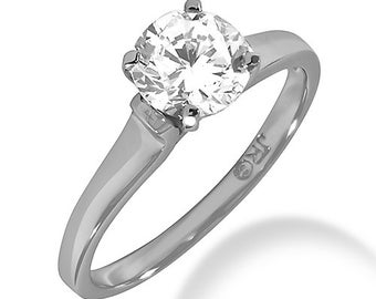 1/2ct GIA Certified Diamond Solitaire  Engagement Ring In 14k White Gold SR274