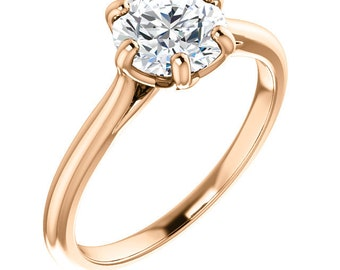 Certified  Forever One Moissanite Engagement Ring ,Round Brilliant Cut Diamond Simulant Wedding Ring In Solid 14K Rose  Gold - ST234527