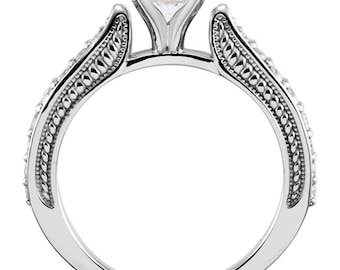 6.5mm  1 ct  Round  Forever One (GHI) Moissanite 14K White Gold Diamond  Sculptural  Engagement  Solitaire  Ring   - ST233413
