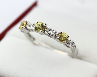 Natural Yellow Sapphires  Solid 14K White Gold Diamond wedding band ring