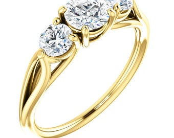 1 Ct Forever One (GHI) Moissanite Solid 14K Yellow  Gold Engagement Ring *****Specail For Her *****ST233587