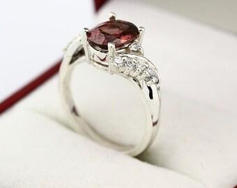Stunning VS Pinkish Red zircon  Solid 14K White Gold Diamond Ring