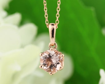 """14K Rose Gold Peach Pink Morganite Pendant Necklace, 14k Gold Cable Chain adjustable 16"""", 17"""", 18"""""""