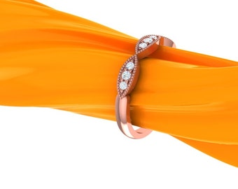 Art Deco Antique Style Diamond Milgrain 14K White/Yellow/Rose  Gold half  Eternity Wedding Band Ring Aniversary Ring Valentine's day Gift