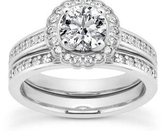 1 carat 6.5mm Round Forever One (GHI) Moissanite Flower Halo   Bridal Set Diamond Engagement Ring Set  ENS4287