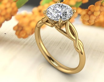 14K Gold 2.00 CT Round Moissanite (DEF) Infinity Style Engagement Ring Gift For Her
