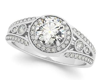 5mm Forever One (GHI) Moissanite  Solid 14k white gold Antique Style diamond Engagement Ring- Ov95169