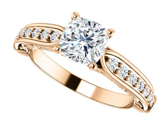 1.1ct Forever One (GHI) Moissanite Solid 14K Rose Gold Diamond Engagement Ring, cushion cut- ST233176C