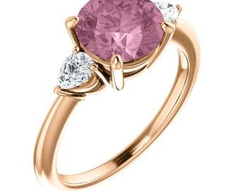 Natural Morganite Ring Set, Diamond Morganite Engagement Ring , Roes gold, 8mm Round  gemstone - ST233035