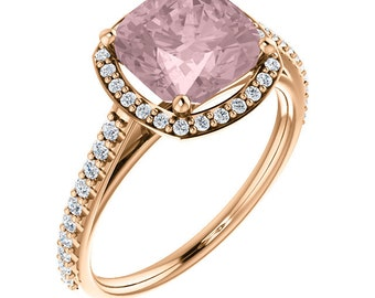 Natural AAA 8mm Antique Cushion Cut Morganite  Solid 14K Rose Gold Diamond Engagement halo  Ring Set - ST232098