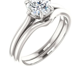 Certified Forever One Colorless Moissanite Engagement Ring Set, Round Brilliant Cut Diamond Simulant Ring Set In 14k White Gold,ST234527