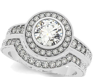 1 ct 6.5mm Forever One (GHI) Moissanite  Solid 14k white gold Antique Style diamond Engagement Ring Set- Ov61304