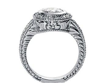 6mm Round Forever One (GHI) Moissanite  Vintage Halo Diamond Engagement Ring  ENR588