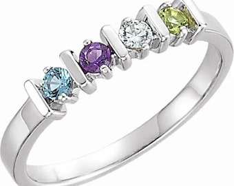 2 3 4 5 or 6 Birthstones Simple Bar Mother's Ring in Solid 14k White,  Yellow Or Rose Gold Family Jewelry ST21021