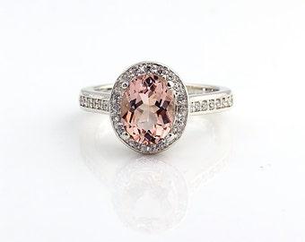 Natural Morganite  14K White Gold  Diamond Engagement Halo Ring - Gem814