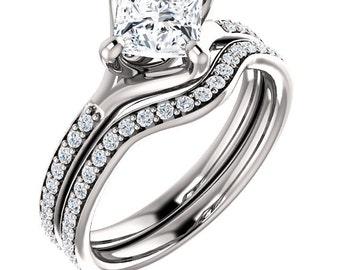 1ct Square Forever One (GHI) Moissanite  Solid 14K White Gold   Engagement  Ring Set  - ST233403