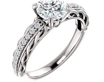 1 ct Forever One (GHI) Moissanite Solid 14K White Gold Diamond Engagement Ring - ST233177