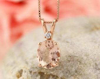 14 Karat Rose Gold Oval Shape 2.50 Carats Morganite Diamond Pendant (10x8mm Oval)