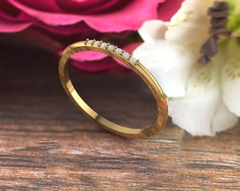 Dainty 7 Diamond / Moissanites Ring in 14k Solid Gold, Lovely Gift for Her, Delicate Stackable Ring, Thin Diamond /Moissanite Ring