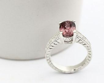 Natural VVS Pink Zircon Solid 14K White Gold Diamond Ring