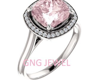 Natural AAA 8mm Antique Cushion Morganite  Solid 14K White Gold Diamond Engagement Ring Set-ST82837