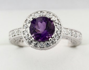 Natura purple Amethyst Solid 14K White Gold Diamond Ring--Antique