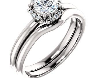 5mm  1/2ct  Forever One (GHI) Moissanite Solid 14K White Gold   Engagement  Ring Set  - ST233348