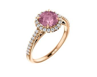 Natural Morganite Ring Set, Diamond Halo Morganite Engagement Ring Band Set, Roes gold, 7mm gemstone - ST233953  On Promotion