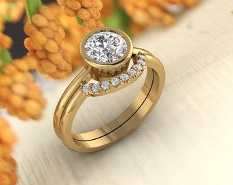 Solid 14K Gold 1.00 CT Round Moissanite (DEF) Bezel Set Engagement Ring ,Diamond Ring ,Moissanite wedding ring  Gift For Her
