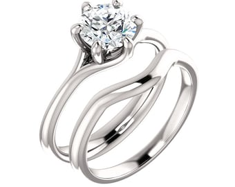 1ct Forever One (GHI) Moissanite Solid 14K White Gold   Engagement  Ring Set - Gem1058