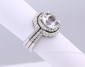 Natural AAA White Topaz  Solid 14K White Gold Diamond engagement Ring bridal set - Gem789