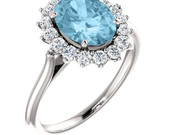 Natural AAA 9x7mm  Aquamarine  14K White 9x7mm Oval Halo-Styled Ring -ST82717