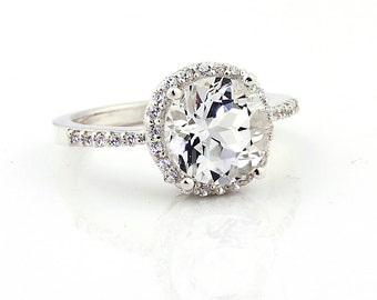 Natural AAA 9mm White Topaz Attributed by SWAROVSKI  Solid 14K White Gold Diamond engagement Ring - Gem789
