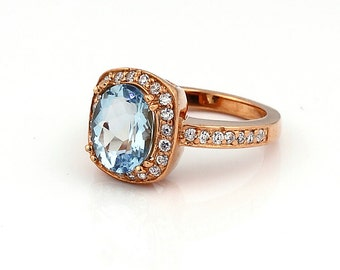 Charming Natural AAA 10x8mm Oval aquamarine Solid 14K White Gold Diamond engagement Ring-Gem771
