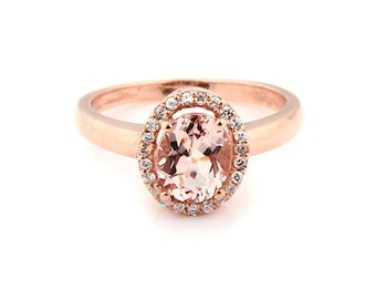 Natural 8x6mm Oval  Fancy Color  Morganite Solid 14K Rose Gold Diamond engagement Ring--GEM901 - Special Offer!!!!!!!