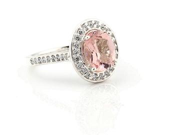 Natural AAA Pink Morganite  Solid 14K White Gold Diamond engagement  Halo Ring - Gem798