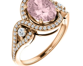 Natural AAA 10x8mm Oval  Morganite  Solid 14K rose  Gold Diamond halo Engagement Ring Set-ST233568