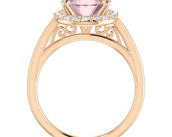 Natural AAA Morganite Ring Set, Diamond Halo Morganite Engagement Ring Band Set, Roes gold, 11x9mm gemstone - ST233965