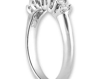 14K White / Yellow / Rose  Gold  Natural Round Diamond Wedding Band  Aniversary Ring ENS4175
