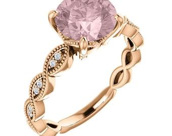 Morganite Engagement Ring Set  Diamond Wedding Ring Set Vintage art deco style 8mm Round  In 14k Rose Gold ST234245