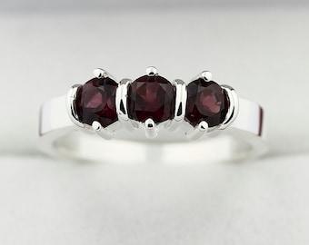3 stones Natural Red Violet Rhodolite Garnet Solid 14K White Gold Ring