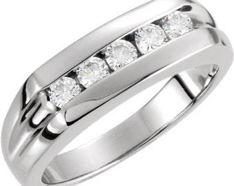 Natural Diamond Men's Ring Band Ring 14k White Gold