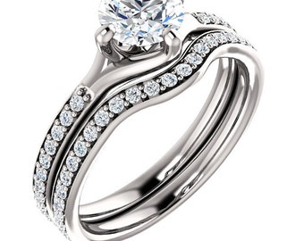 Certified center Natural White Sapphire Solid  14k white gold diamond  Engagement Ring Set ST233403