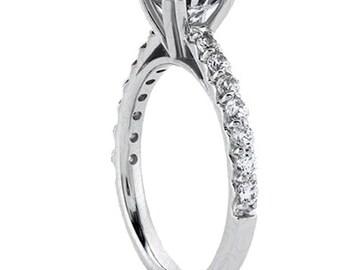 1.00 carat 6.5mm Round Forever One (GHI) Moissanite Diamond Engagement Ring ENR0426
