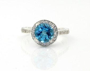 2.50 Cts Natural Swiss Blue  Topaz 14K White Gold  Diamond Engagement Halo Ring Set - Gem807