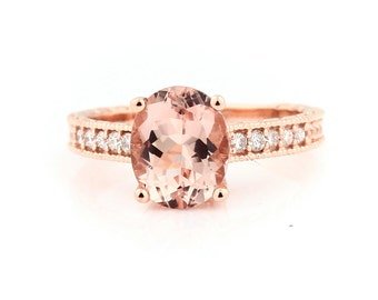 Stunning AAA 10x8mm Oval  Natural Morganite  Solid 14K Rose Gold Diamond engagement Ring-antique style