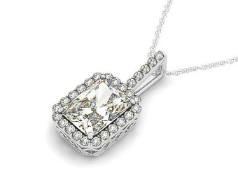 7x5mm Emerald Cut Forever One (GHI) Moissanite  Solid 14k white gold Antique Halo Style diamond Pendant with  18 Inch Cable chain - Ov42589